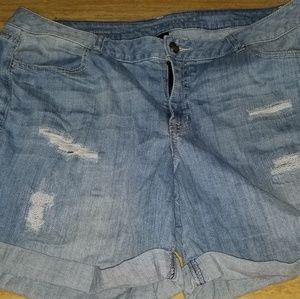 Lane Bryant destructed jean shorts 18